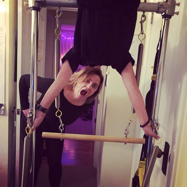This is what we got up to tonight with my son and my client 🙃 Got it?#cadillacfun #gracefulpilates www.gracefulpilates.com