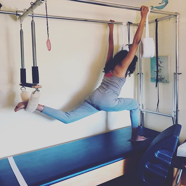 "Look at this prepossessing sight.  Is she not perfection in her lines? We deal with hip flexor issues that effect her back. This stretch is so potent in her goal to find hip relief🏼 #Pilates #Cadillac #stretch #stretching #hipflexors #backrelief #glutes #privatesession #hurtssogood #Livermore #gracefulpilates Which ever leg that is behind you, in this case her left, try squeezing that left gluteus maximus, or as I like to say ""tushie"". Did you know the glutes are the main extensor muscles of the hip? #goodtoknow #gluteousmaximus"