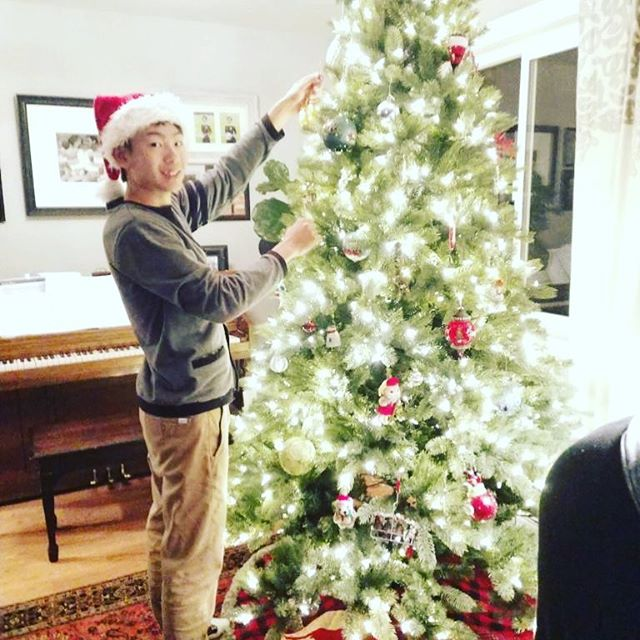 Our host son helping decorate the tree.  He's so sweet! @nknksk_0725  #host #hostson #japan #christmas #treedecorating