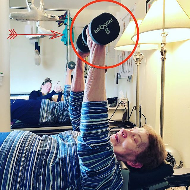 My beautiful 76 year young client chest pressing 8lb weights!!. She blows me away every time🥰 #pilates #weights #stayyoung #pecs #impressive #muscle #pilatesprivate #heavyload #workout #workit #dedication #dedicatedtopilates #gracefulpilates #livermore